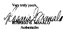 see letter of betrayal at the bottom of the page ROSARIO G. MANALO AMBASSADOR